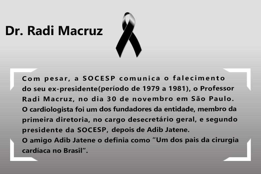 Imagem da notícia NOTA DE FALECIMENTO - DR. RADI MACRUZ